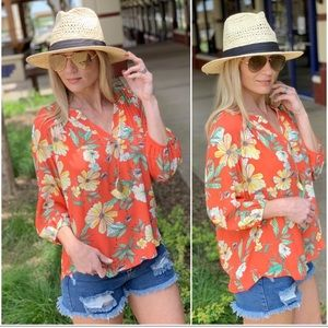 Coral Floral 3/4 Sleeves Tunic